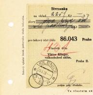K9522 - Czechoslovakia (1929) Volenice (postal Money Order); Account Owner: Viktor Klinger, Wholesale Trade Of Coal