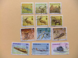 ZIMBABWE 1990 FAUNA TRANSPORTE ARTE (12 Sellos) Yvert Nº 192 +194 /199 + 201 + 206 + 208 / 209 º FU - Zimbabwe (1980-...)
