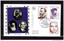 "(Faciale = 3.73 €) MONACO 2001 : FDC En Soie "" 100 ANS DES PRIX NOBEL : NOBEL /  DUNANT / FERMI "" N° YT 2314 2315 2 - Prix Nobel"