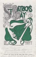 St Patricks Day Erin Go Bragh Harp 1906 Year Date, C1900s Vintage Postcard RFD Cancel Postmark Martinez CA - Saint-Patrick's Day