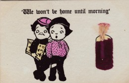 Fourth Of July 'We Wont Be Home Until Morning' Children Firecracker Attached Felt & Twine, C1900s Vintage Postcard - Fantaisies