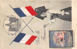 PATRIOTIQUE VIVE LA FRANCE ALSACIENNE DRAPEAUX ET VIGNETTE - Patriotic
