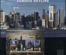 Palau 2016 New York City 2 S/s, (Mint NH), Architecture - Philately - Sculpture  - Railways - Bridges A..