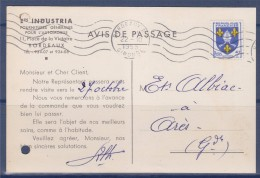 = Carte Commerciale Annonce Arrivée Du Commercial Et Industria Bordeaux 22.10.55 à Ares Timbre N°1005 Tudor Batteries - Storia Postale
