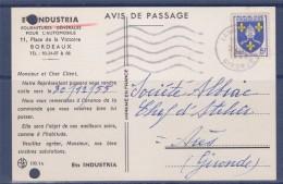 = Carte Postale Commerciale Annonce Arrivée Commercial Et Industria Bordeaux 22.10.55 à Ares Timbre N°1005 A La Soupe - Storia Postale