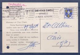 = Carte Postale Commerciale Annonce Du Commercial Ets Industria De Bordeaux 24.9.55 à Ares Timbre N°1005 Tudor Batterie - Storia Postale