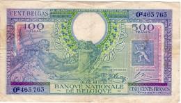 RARE 100 Belgas 500 Francs  Type LONDRE Du 01.02.1943 - [ 2] 1831-... : Royaume De Belgique