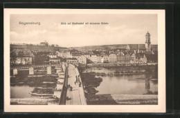 AK Regensburg, Blick Auf Den Stadtbahnhof Mit Steinerner Brücke - Regensburg