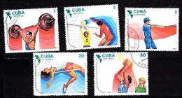 CUBA Basketball , Voleyball ,1983, 5 TIMBRES OBL CANCELED,  USED  (30 - 2016 -2003 )