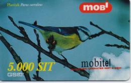 SLOVENIA PHONECARD MOBITEL/BIRDS(blue Tit)-5000 Units - 12/00-USED(thick Plastic)/bx1 - Slovénie
