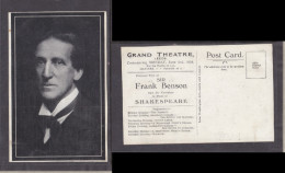 Sir Frank Benson, Visiting Grand Theatre, Leeds, Promotional Card, Unused, - Theatre
