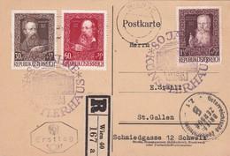 AUTRICHE 1948 FDC CARTE EN RECOMMANDE DE WIEN CENSUREE  AVEC CACHET ARRIVEE - 1945-.... 2ème République