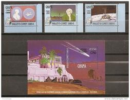 ESPACIO - GHANA 1989 - Yvert #993/95+H134 - MNH ** - Espacio