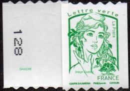 France Marianne De Ciappa Et Kawena N° 1257.** Autoadhésif, Sans Le Grammage Verte (PRO Verso N° à Gauche) - 2013-... Marianne Of Ciappa-Kawena