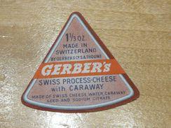 Cheese Queso Kase Label Etikette Etiqueta ~1920-1950 GERBER'S SUISSE CARAWAY - Cheese