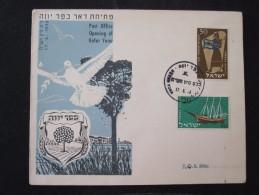 1957 KFAR YONA VASSEL MUSIC KING POO FIRST DAY POST OFFICE OPENING AIR MAIL STAMP ENVELOPE ISRAEL JUDAICA JERUSALEM - Israel