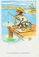 Illustrateur Humour   H126      Pédro Segui. Du Producteur Au Consommateur ( Pêcheur à La Ligne ) - Illustrateurs & Photographes