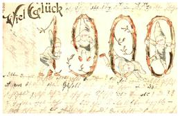 Année Date Millesime - 1900 - Nains Dans Les Chiffres Gaufrée Embossed, écriture Codée Message Codé - New Year