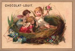 2 CHROMOs  - Chocolat LOUIT - Petits Anges Dans Un Nid -  R/V - C3-1 - Louit