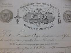 Facture Illustrée Montpellier 1871 D.Guy Fabrique De Lampes à Alcool à Schiste à Pétrole - France