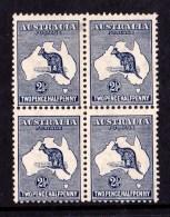 Australia 1913 Kangaroo 21/2d Indigo 1st Watermark Block Of 4 MH - See Notes - 1913-48 Kangaroos