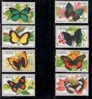 1990 Ghana Butterflies  Papillions Complete Set Of 8 & 2 Souvenir Sheets MNH - Ghana (1957-...)