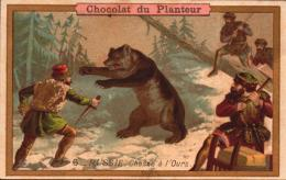 CHROMO - Chocolat Du PLANTEUR -  Russie Chasse A L'ours - 6 -  R/V - C3-1 - Chocolate