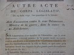 Acte  Révolution 29/08/1792 Acte D'accusation Contre Le Sieur Dabancourt Lodève Militaire - Wetten & Decreten