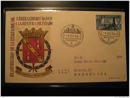 1956 Edifil 1199 (Cat. 2002: 8,50 Eur) Exaltacion FRANCO A La Jefatura Del Estado Monolito Monolith FDC SPD Spain - FDC
