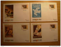 Barnafil 2003 Complete Set 4 Postal Stationery Champagne Blanes Cava Europa Cept Toy Car Tirada Limitada Europeism