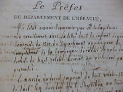 Extrait Préfet De L'hérault Condamnation D'A. Cros D'Agnes Conscrit Réfractaire Arrondissement De Saint Pons - Historische Documenten