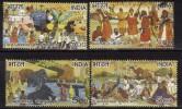 India Used 2007, Set Of 4, Fairs Puskar, Sonepur, Goa Carnival, Baul Mela, Fair Elephant, Butterfly, Music, Fish, Camel,