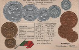 Litho Münzkarte AK Portugal Centavo Centavos Reis Milreis Escudo Escudos 1882 Carlos Nationalflagge Coin Pièce Moneda - Monedas (representaciones)