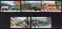 India Used 2007, Set Of 5, National Parks,  Animals, Elephant, Rhino, Leopard, Tiger, Nature, (sampe Image)