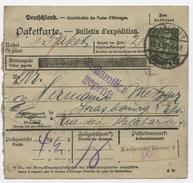 Frankfurt  Par Karlsruhe Baden  Bulletin D'expédition Paketkarte Pour Strasbourg 1922 Dédouanement - Germany