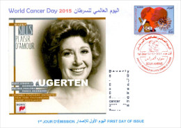 DZ - 2015 - FDC - World Cancer Day Tabac Tobacco Cigarette Cancro Kanker Heart Music Beverly Sills Opera