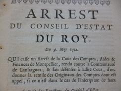 Arrest Du Conseil Du Roi 31/05/1711 Cassation D'un Arrêt Sur Les Comptes Lansargues/Montpellier - Décrets & Lois