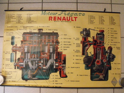 Affiche De Garage. Moteur Frégate Renault Régie Nationale. Vers 1955. Bon état - Affiches