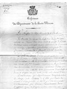 L.A.S.LOUIS COURBON DE SAINT-GENEST,préfet De Haute-marne.Communes GOURZON,NARCY,CUREL.2 Pages Manuscrites Signées.1825 - Autographes