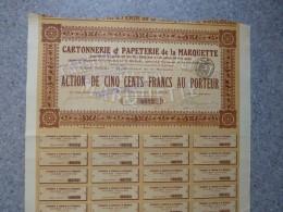 TOULOUSE, Cartonnerie Et Papeterie LA MARQUETTE Lot De 6 Actions De 500 F, Faible Tirage ; Ref ACT M - Shareholdings