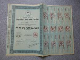 LYON, Etablissements Mounier-Leglène,  Lot De 6  Part Fondateur, Faible Tirage ; Ref ACT M - Shareholdings