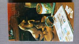DIORAMA DECOUPE Bonne Fête Papa - Bureau Avec Cheval De Bois Loupe Timbres Livres .. S'ouvre Sur Une Scène Découpée - Saisons & Fêtes