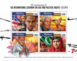 Maldives 2016 ICCPR 50th Aniv Gandhi Martin Luther Mandela Malala Nobel Peace Prize S/S MLD16803a - Celebrità