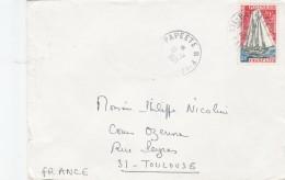 GOELETTE YT 40 SEUL SUR LETTRE PAPEETE 10/2/71 POUR TOULOUSE                                     TDA149 - Polynésie Française