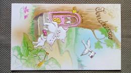 CARTE DOUBLE - Tendresses -  Illustration ADORABLES CHATS AMOUREUX COEUR - ENVOL D' UNE COLOMBE - Saisons & Fêtes