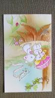 CARTE DOUBLE - Tendrement  -  Illustration ADORABLES SOURIS AMOUREUSES OMBRELLE - ESCARGOT - COCCINNELLE - AVION - Saisons & Fêtes