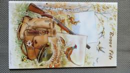 Bonne Fête - Scène De CHASSE - Fusil Botte Sacoche FAISAN GRIVE LAPIN LIEVRE ENVOL CANARD CHAMPIGNONS - Saisons & Fêtes