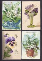 LOT DE 76 CPA FANTAISIE Thème Fleurs Violette Pensée Rose Oeillet Muguet Lilas Anémone Coquelicot Violette Illustrateur