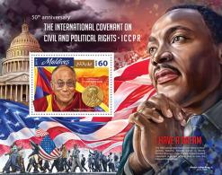 MALDIVES 2016 - Dalai Lama, Civil And Political Rights S/S Official Issue - Buddismo