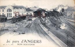 (49) Maine Et Loire ANGERS - Je Pars D'Angers Bon Souvenir - Gare Train Tren Locomotive - 2 SCANS - Angers